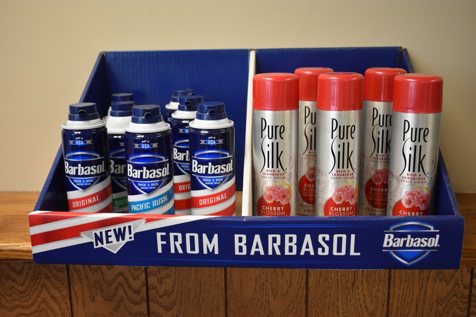 Barbasol Table top display- creative packaging from a packaging company near me