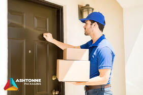 Man with boxes at front door
